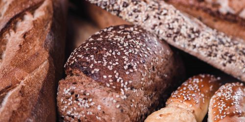 Breads and baked goods close-up, bakery concept
